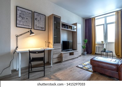 Moscow, Tverskaya street, March 04, 2019: photography of the interior of a two-room apartment.