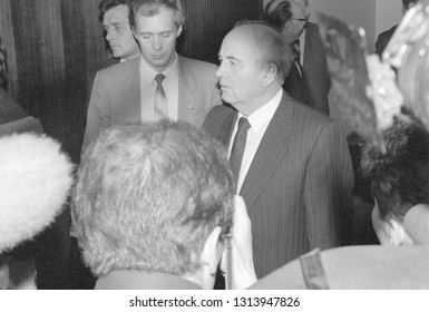 Moscow, USSR - August 23, 1991: President of the USSR Mikhail Sergeevich Gorbachev at extraordinary session of Supreme Soviet of people's deputies of the USSR