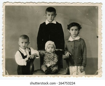 MOSCOW, USSR, CIRCA 1950s: Antique photo, portrait of a four children, circa 1950s