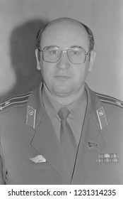 Moscow, USSR - December 21, 1990: Portrait of People's Deputy of the USSR colonel Nikolai Semyonovich Petrushenko at 4th Congress of People's Deputies of the USSR