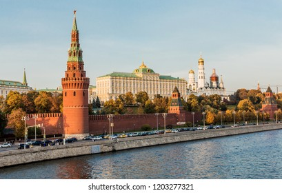 Moscow, view of the Kremlin, the Kremlin Embankment, the Water Tower, the Annunciation Tower, the Taynitskaya Tower, the Grand Kremlin Palace and the Assumption Cathedral, autumn.