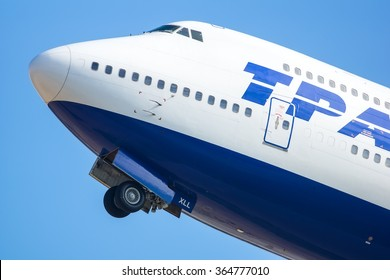 Moscow - Vnukovo, Russia - July 04, 2014: Folding of the front gear of the Boeing 747-400 Transaero EI-XLL take off at Vnukovo International airport.