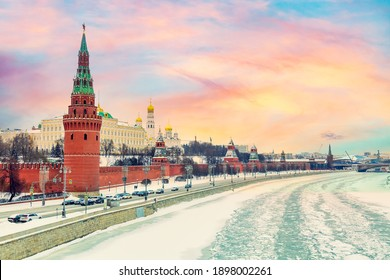 Moscow winter cityscape. View of the Kremlin with the Moscow River in winter during colorful amazing sunset.