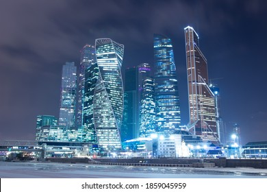 Moscow in the winter. Moscow International Business Center (MIBC) Moscow-City on Moskva River. - Shutterstock ID 1859045959