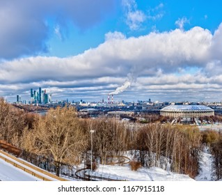 Moscow winter panorama. View from the Sparrow Hills.