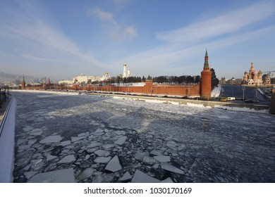 Moscow Winter. View of the Kremlin in the afternoon.