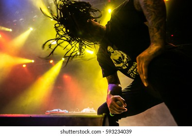 MOSCOW-12 FEBRUARY,2017: Famous hip hop singer Waka Flocka Flame performing live music show on stage.Bright concert lighting on popular rapper.Cool braided American singer with microphone on scene