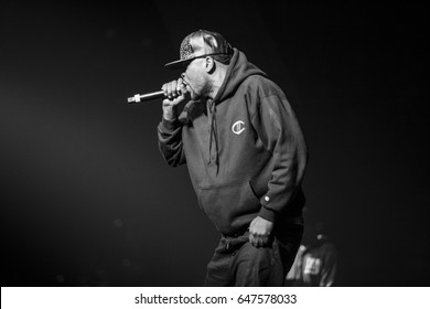 MOSCOW-13 NOVEMBER,2015: Popular hip hop band Wu-Tang Clan performing live in night club.Famous rap singer Method Man on stage.Black & white shot of celebrity rapper Clifford Smith