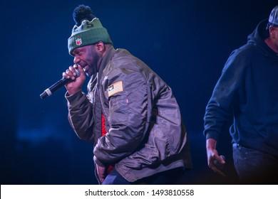 MOSCOW-13 NOVEMBER,2015: Rap concert of hip hop band Wu-Tang Clan. Method Man, Raekwon, Inspectah Deck, U-God, Masta Killa performing live set on stage in Space night club