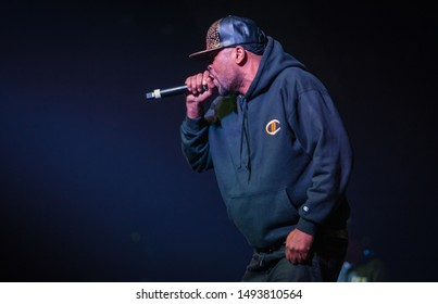 MOSCOW-13 NOVEMBER,2015: Rap concert of hip hop band Wu-Tang Clan.Clifford Smith aka Method Man performing live set on stage in Space night club