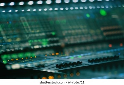 MOSCOW-19 NOVEMBER,2016: Sound technician,stage lights technicians control panel with faders.Professional light mixer.Mixing console with regulators