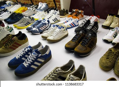 MOSCOW-2 MARCH,2015: Rare sneakers exposition Adidas Spezial. Unique sport shoes signed by famous people exposed in gallery.Vintage trainers and modern athletic shoe models