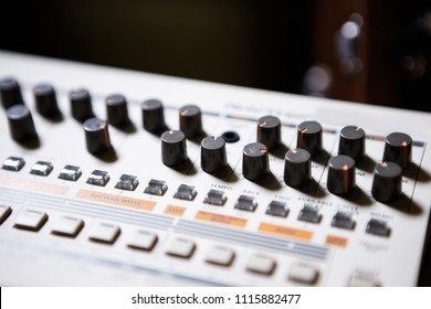 MOSCOW-20 AUGUST,2017:Professional Roland drum machine for electronic music composer.Play and remix musical tracks on studio session and night club concert with retro style synthesizer device