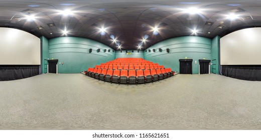 Moscow-2018: 3D spherical panorama with 360 degree viewing angle of empty cinema hall interior with red comfortable seats and screen. Ready for virtual reality in vr. Full equirectangular projection.