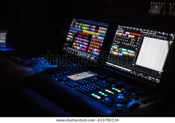 Moscow26 August2016 Professional Concert Lighting Controller Stock