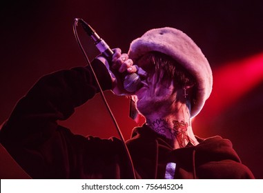MOSCOW-30 MARCH,2017:Rapper Lil Peep concert in night club.Portrait of famous rap singer on his last concert in Russia.