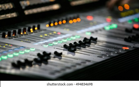 MOSCOW-6 OCTOBER,2016:Sound technician and lights technicians control the show.Professional audio & light mixer.Equipment for concerts