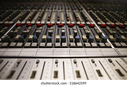 MOSCOW-7 JULY,2016: Professional sound recording studio mixer panel.Record music in high quality at sound recording studio.Sound mixer in close up.Hi-fi professional audio equipment for sound engineer