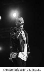MOSCOW-7 JUNE,2016:Concert of Macklemore and Ryan Lewis rap band at outdoor summer music festival Lastochka.Famous rapper Ben Hagerty with microphone