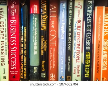 Moscow 7 March 2018 Motivational Books On Bookshelf Background Colorful For
