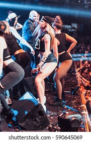 MOSCOW-8 FEBRUARY,2015:Twerking girls on concert stage.booty shake show.Seductive sexual gogo dancers on scene.Young dancer girl dancing in the club