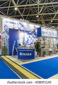 MOSCOW-AUGUST 26, 2013: Booth automotive spare parts Czech company TESLA at the International Trade Fair Automechanika