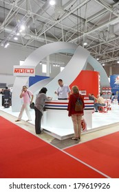 MOSCOW-AUGUST 26: The stand MUTLU Turkish company producing car battery at the International Exhibition Automechnika on August 26, 2013 in Moscow