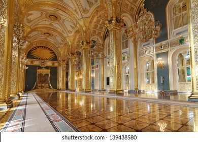 MOSCOW-FEB 22: An interior view of the Grand Kremlin Palace is shown on Feb 22, 2013 in Moscow. Built in 1849, the palace is the official residence of the President of Russia. The throne hall