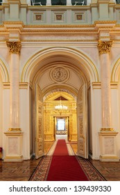 MOSCOW-FEB 22: An interior view of the Grand Kremlin Palace is shown on Feb 22, 2013 in Moscow. Built in 1849, the palace is the official residence of the President of Russia. Small Georgievsky hall