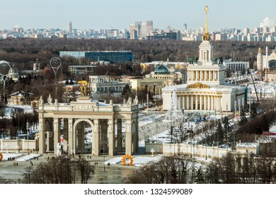 Moscow-February 23, 2019: view from the height of the main entrance and pavilions of the exhibition VDNH in Moscow. Winter