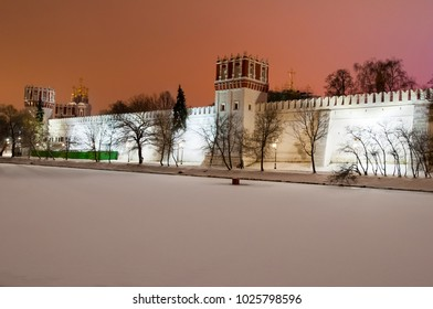 Moscow-January 05: Novodevichy Convent, also known as Bogoroditse-Smolensky Monastery illuminated at night on January 05,2018, Russia.