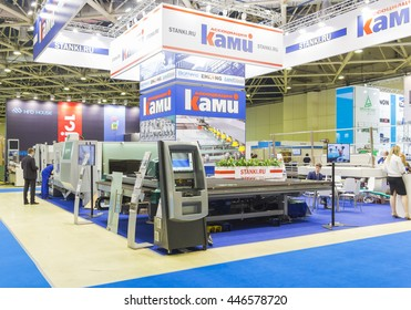 MOSCOW-JUNE 08, 2016: Machines for glass processing Bottero Italian brand at the stand of KAMI at the International Trade Fair MIR STEKLA
