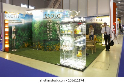 MOSCOW-JUNE 15:The stand of the Russian company ECOLA production of LED and fluorescent energy saving lamps at the international exhibition ELEKTRO'2012 on June 15, 2012 in Moscow
