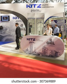 MOSCOW-JUNE 24, 2015: Booth the Japanese company KITZ which produces rotary valves for pipelines at the International Trade Fair MIOGE