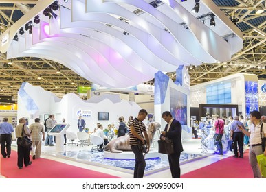 MOSCOW-JUNE 24, 2015: Booth oil company Gazprom OIL of Russia at the International Trade Fair MIOGE