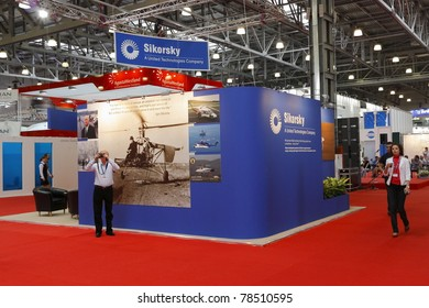 MOSCOW-MAY 21: American Company Sikorsky booth at the 4-th International Exhibition of Helicopter Industry on May 21, 2011 in Moscow