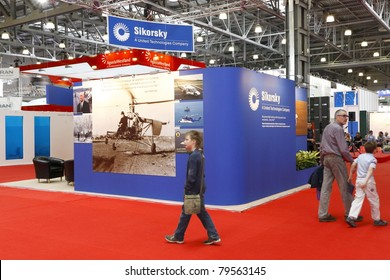 MOSCOW-MAY 21: American Company Sikorsky booth on display at the 4th International Exhibition of Helicopter Industry on May 21, 2011 in Moscow, Russia.