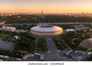 Moscow,MAY 25, 2018: Aerial view of Luzhniki Stadium,Moscow, Russia. Luzhniki Stadium has been selected for opening match and Final round 2018 FIFA World Cup in Russia.