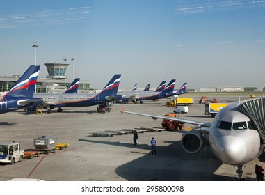 MOSCOW-MAY 8: planes at the Sheremetyevo International airport on May 8, 2010 in Moscow, Russia