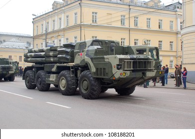 """MOSCOW-MAY 9: Multiple launch rocket system """"SMERTCH"""" at the Victory Day Parade on May 9, 2012 in Moscow"""