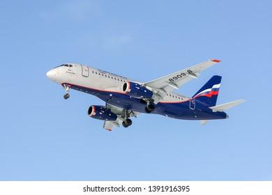 Moscow/Russia - 02 23 2018: Landing Sukhoi Superjet 100 RA-89098 at Sheremetyevo International Airport (this aircraft made an emergency landing at Sheremetyevo,