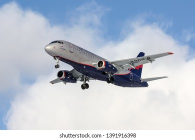 Moscow/Russia - 02 23 2018: Landing Sukhoi Superjet 100 RA-89098 at Sheremetyevo International Airport (this aircraft made an emergency landing at Sheremetyevo, 05/05/2019 and burned out