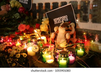Moscow/Russia 03.27.2018: action to remember the victims of a fire in a moll in Kemerovo