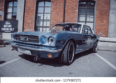 Moscow/Russia - 07.29.2018: custom auto convention Russia, old school blue 1965 Ford Mustang
