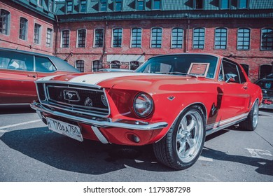 Moscow/Russia - 07.29.2018: custom auto convention Russia, old school red Ford Mustang