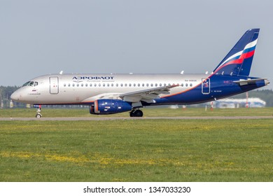 Moscow/Russia - 08 01 2018: Sukhoi Superjet 100 Aeroflot at Sheremetyevo airport