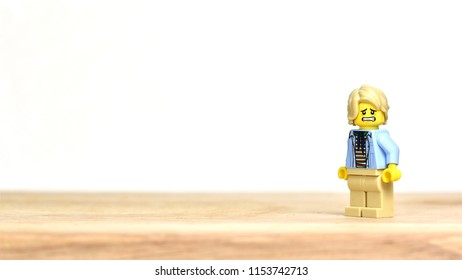 Moscow/Russia - 08/11/2018: People emotions. Frigthened Man. Isolated Lego Style mini figures. Toy.