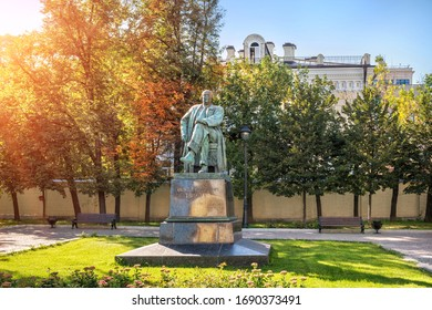 Moscow/Russia - 08/28/2019. Monument to Alexei Nikolayevich Tolstoy near the Great Ascension Church in Moscow on a sunny summer day