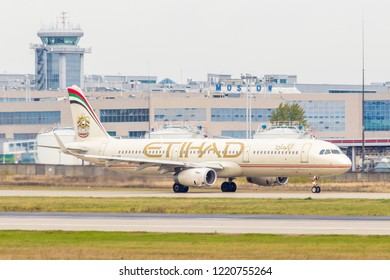 Moscow/Russia - 10 13 2018:  Etihad Airways passenger aircraft turbojet Airbus A320 (A6-AEB) takes off from Moscow Domodedovo airportt