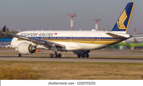 Moscow/Russia - 10 13 2018: Passenger turbojet aircraft Airbus A350 (9V-SMB) of Singapore Airlines takes off from Moscow Domodedovo Airport